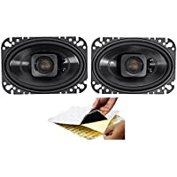 (2) Polk Audio DB462 4x6 300w Car Audio ATV/Motorcycle/Boat Speakers + Rockmat