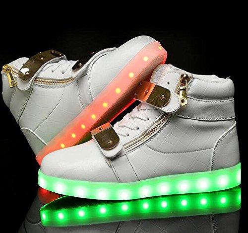 Annabelz Led Schoenen Hoge Top Heren Dames Oplichten Schoenen Usb Opladen Metalen Velcro Knipperende Sneakers Wit