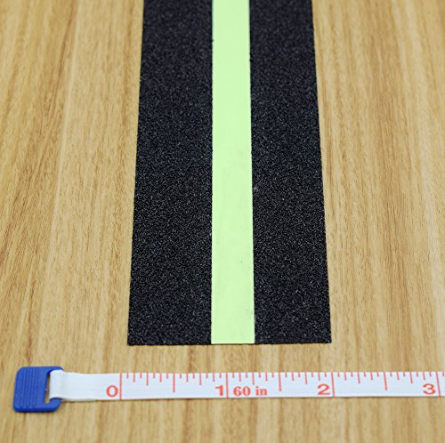 Anti Slip Tape Luminous , Yorwe Glowing in the Dark with Green Fluorescent Strips Safety Track Tape (2''width x 190''long,Luminous) by Yorwe (Image #1)