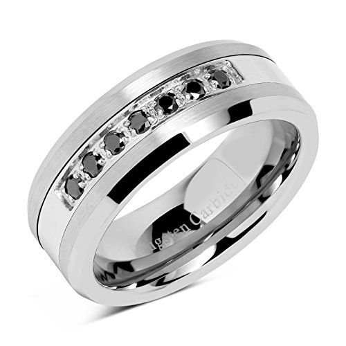 100S JEWELRY 8mm Men's Tungsten Ring Black Cz Inlay Wedding Band Titanium Color Size 8-15 (10) ()