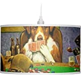 Dogs Playing Poker by C.M.Coolidge Drum Pendant Lamp Polyester
