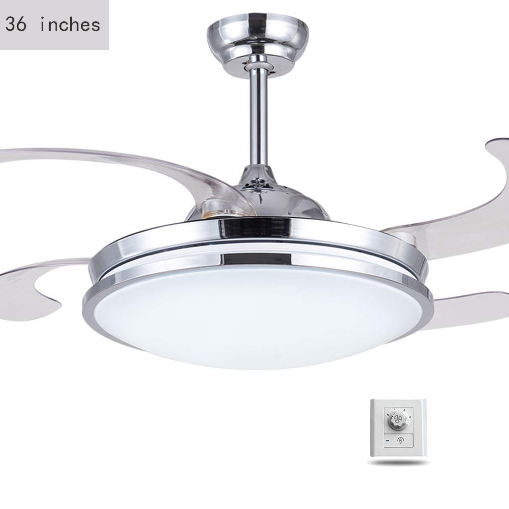 Moderne tr/ès mince r/étractable Ventilateurs de plafond avec lumi/ère LED et t/él/écommande Industrie Ferme Lustre Ventilateurs de plafond avec lampe,Wallcontrol 36 pouces Plafond Lumi/ère avec des fans