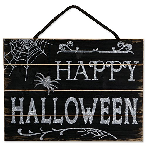 DII Indoor and Outdoor Wood Fall Halloween Hanging Door Decorations and Wall Signs, Haunted House Decor, For Home, School, Office, Party Decorations - Happy Halloween]()
