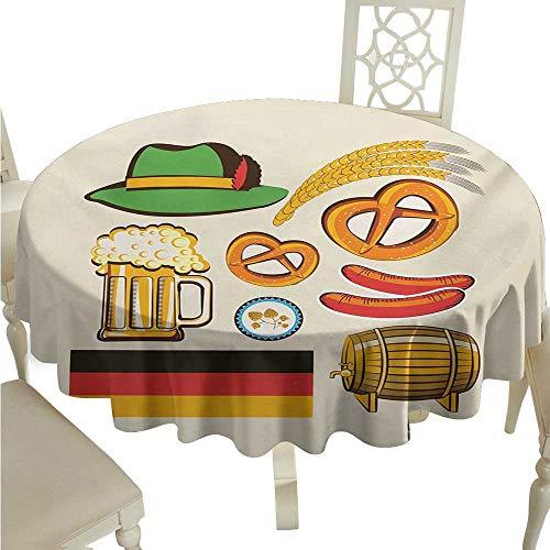 Meikxf Waterproof Tablecloth German Oktoberfest Symbols Wheat Sausage Beer and Pretzels Colorful Bavarian Arrangement Table Decoration D60 Suitable for picnics,queuing,Family