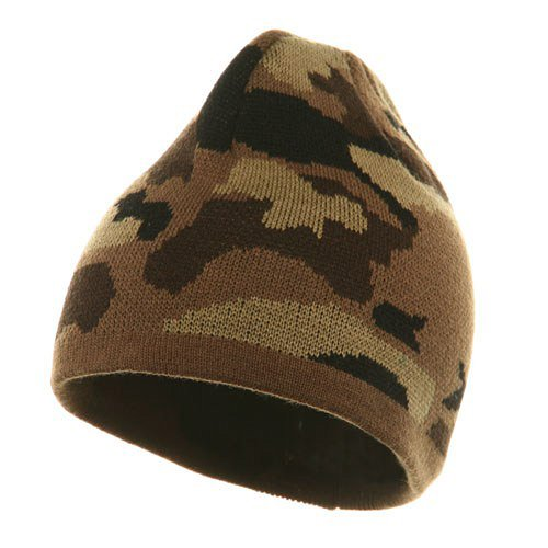 - Otto Caps Camo Design Beanie-Camel Brown Khaki