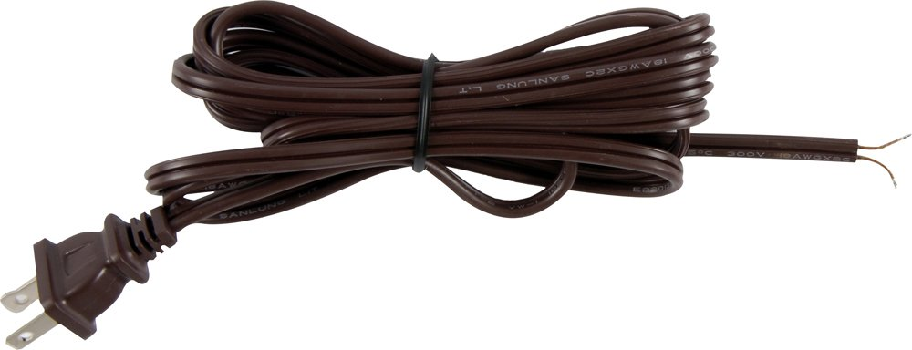 GE 54435 8 Ft Replacement Lamp Cord, Polarized 2 Prong Plug, DIY, Brown