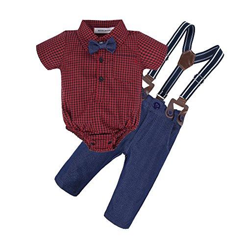 ys 2 Pieces Long Sleeve Shirt Suspender Pants Set with Bowtie U07-A-80 3-6 Months ()