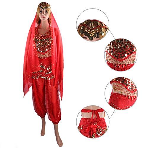 de foulard en et Bells Rouge court Pad Pantalon ventre pendante tete Monnaies danse soie grand Le des Avec SymbolLife Bandage mousseline Chest de Lady indienne ceinture Haut 8BpqH