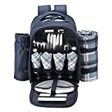 """apollo walker Picnic Set Backpack for 4 with Cooler Compartment,Detachable Bottle/Wine Holder Including Large Picnic Blanket(45""""x 53"""") for Picnic Family and Lovers Gifts,Outdoor,BBQ Time (Blue)"""