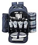 TAWA 4 Person Picnic Backpack with Cooler Compartment,Detachable Bottle/Wine Holder Including A Large Picnic Blanket(45''x 53'') for Family and Lovers Gifts,Outdoor,BBQ Time (Blue)