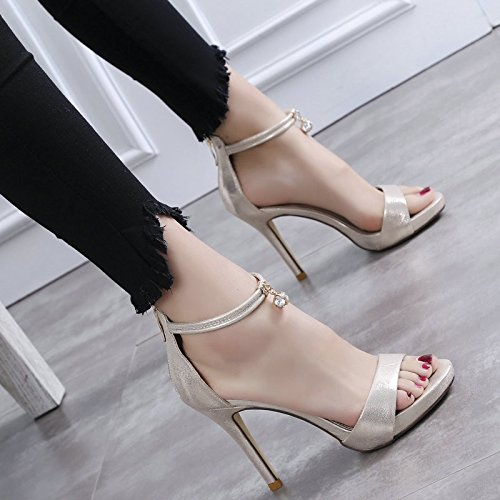 With High Girl Summer GTVERNH The And Flat Shoes Dew 39 Gold Sandals Slim Back Decorated Heeled Sexy Metal Zipper 0Cm x4Iq8C