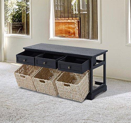 HomCom 40'' 3-Drawer 3-Basket Storage Bench - Antique Black by HOMCOM (Image #2)
