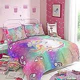 Edredón y Fundas Individual/Matrimonial Unicornio para niñas/adolescentes (Matrimonial, Unicorn Rainbow)