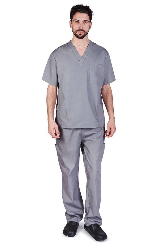 NATURAL UNIFORMS Men's Scrub Set Medical Scrub Top and Pants XXXL Grey