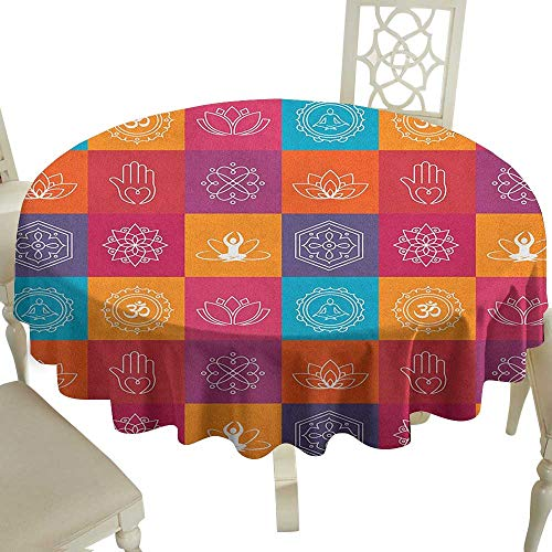Cranekey Striped Round Tablecloth 54 Inch Yoga,Colorful Collection of Yoga Icons and Relaxation Symbols Wellness Harmony Health Zen Multicolor Great for Buffet Table,Parties,Holiday Dinner & More
