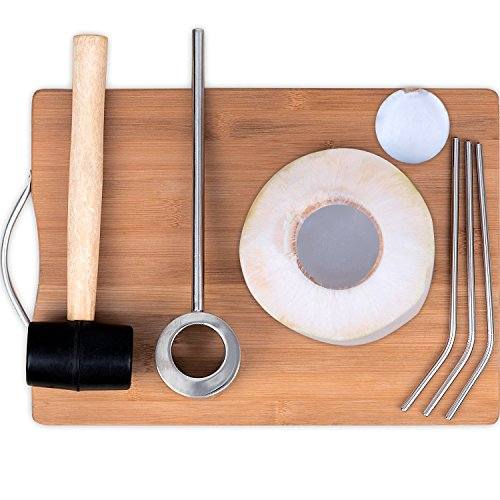 - Coconut Opener, Coconut Opener Kit with Hammer Stainless Steel Opening Utensil Premium Wooden Handle Coconut Opener Tool Set for Young Coconuts Easy and Safe for Your Family
