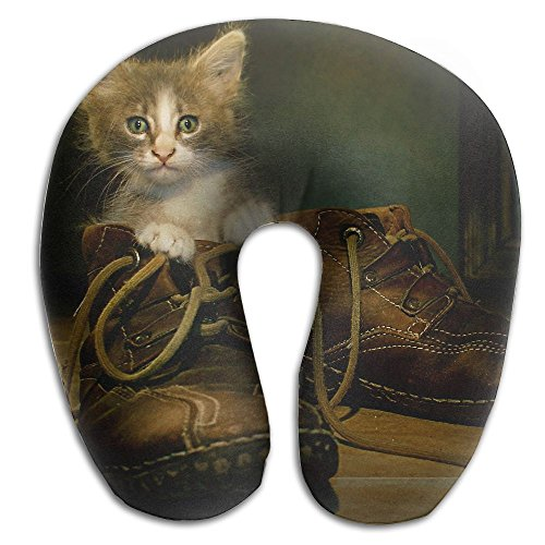 Lesi Yes U Shaped Neck Pillow Memory Foam Soft Cat In Boots Indoor Outdoor Travel Airplane Car Office School