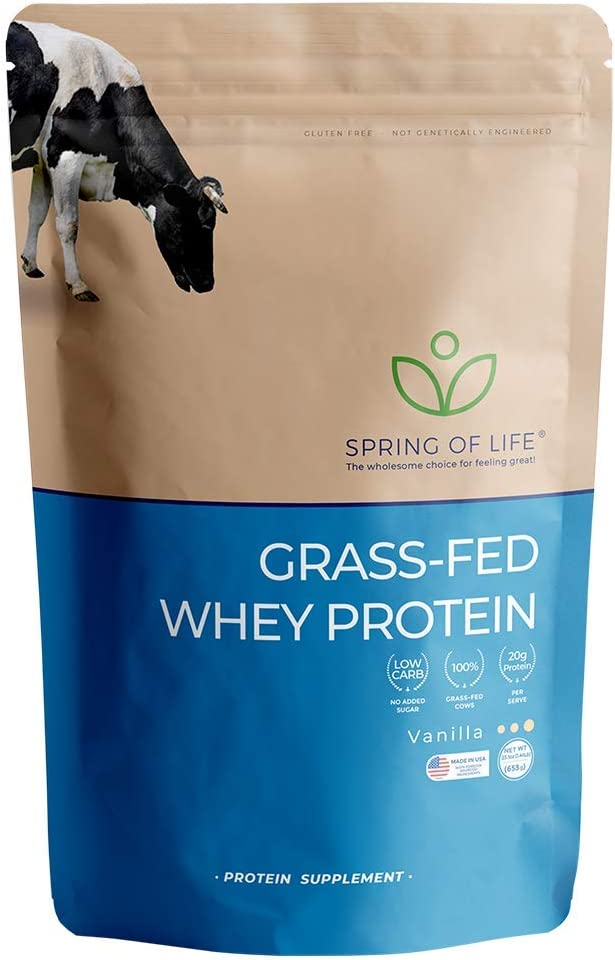 Spring of Life, New Formula, Grass-Fed Whey Protein, Vanilla, 22 Servings 20.56Oz