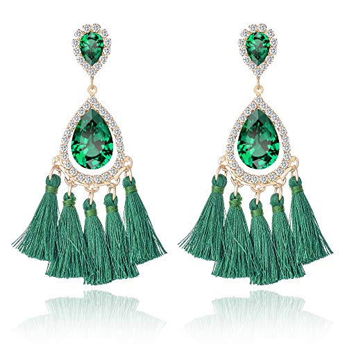 - Miraculous Garden Tassel Earrings for Women - Boho Bohemian Rhinestone Crystal Dangle Drop Teardrop Long Fringe Earrings for Women Girls(Green)