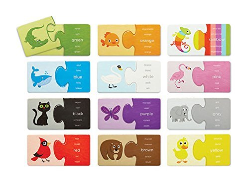 Baby's First Puzzle 12 Unique 2pc Animal colors Puzzles with Storage Container by Crocodile Creek