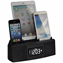 DOK CR28 3 Port Charger with Speaker Phone Bluetooth/Alarm, Clock/FM Radio, Retail Packaging, Black