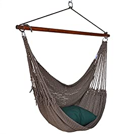Jumbo Caribbean Hammock Chair with Footrest – 55 inch – Soft-Spun Polyester