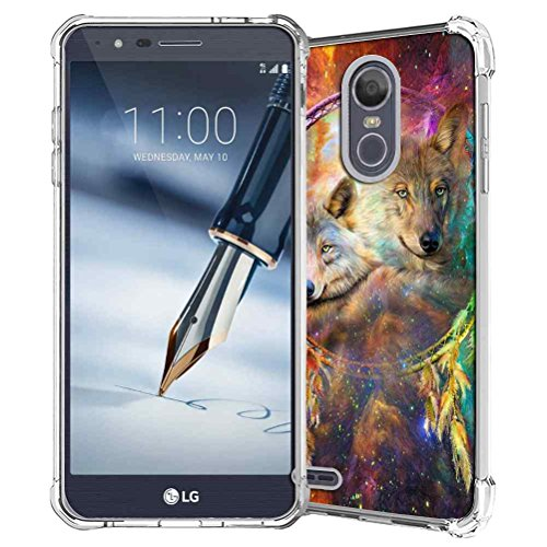 LG Stylo 3 Case, LG Stylo 3 Plus Case, LG Stylus 3 Case, LG K10 Pro LS777 Case, SuperbBeast Slim Thin TPU Bumper Gel Rubber Silicone Protective Case Cover (Galaxy Dream Catcher Wolf Spirits Pattern)