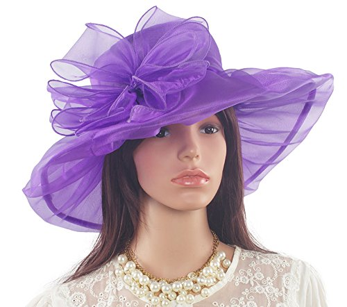 ICSTH Womens Organza Kentucky Derby Church Party Floral Wide Brim Summer Hat ...