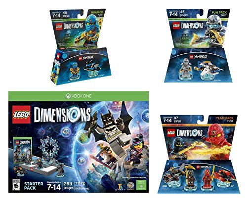Lego Dimensions Starter Pack + Ninjago Team Pack + Jay Fun Pack + Zane Fun Packs for Xbox One or Xbox One S Console by WB Lego