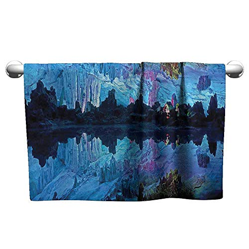 duommhome Natural Cave Decorations Beach and Pool House Towel Illuminated Reed Flute Cistern with Artifical Lights Crystal Palace Myst Cave Image W12 x L35 Blue Indigo