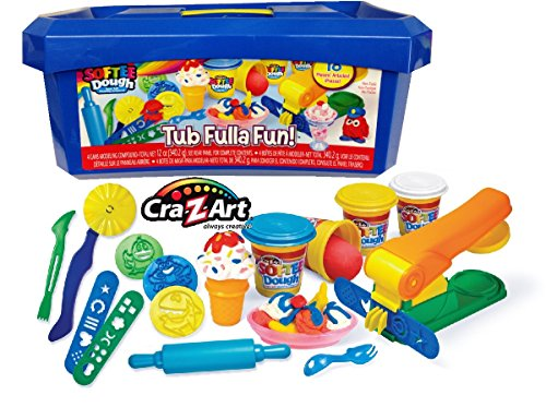 cra-z-art-softee-dough-super-soft-modeling-compound-tub-fulla-fun-18-piece-bucket-blue