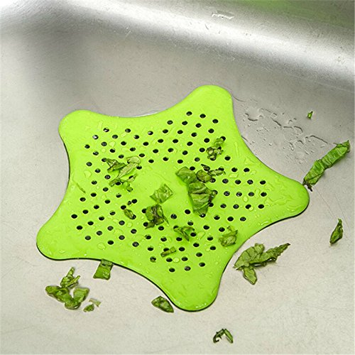 QISQI 1Pc Star Sewer Outfall Strainer Bathroom Sink Filter Anti-blocking Floor Drain Hair Stopper & Catcher Kitchen Bathroom Accessory by Songoku