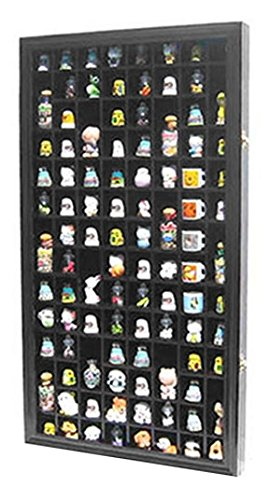 100 Thimble Display Case Holder Wall Cabinet Shadow Box, with REAL GLASS door, Felt Interior Background - Black (TC100-BL)