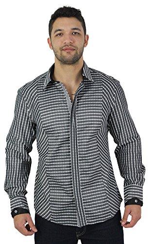 English Laundry Mens Checkered Dress Shirt Black Size M