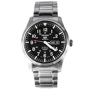 Seiko Men's SNZG13 Seiko 5 Automatic Black Dial Stainless-Steel Bracelet Watch