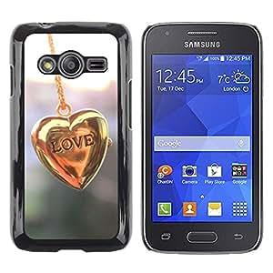 LECELL--Funda protectora / Cubierta / Piel For Samsung Galaxy Ace 4 G313 SM-G313F -- Gold Heart Chain Pastel Shiny --