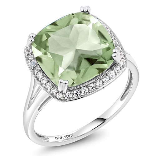 (Gem Stone King 6.74 Ct Cushion Green Prasiolite White Diamond 10K White Gold Ring (Available in size 5, 6, 7, 8, 9))