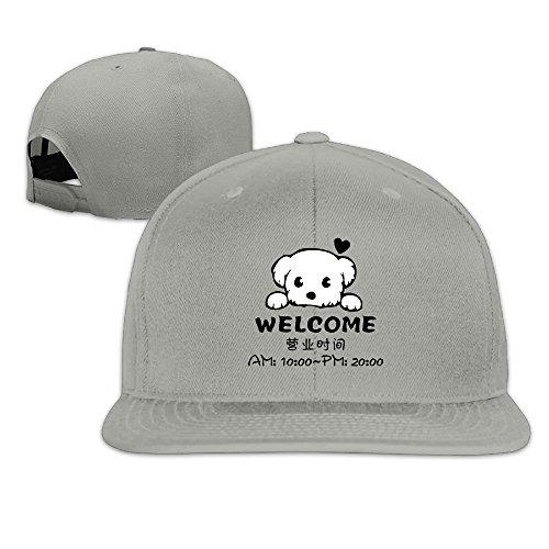 Odr KOPWIEA Men's Welcome Dog To Business Hours Classic Basketball Ash Caps Hats Adjustable - Center San Hours Francisco