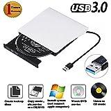 External DVD Drive, USB 3.0 Portable DVD Burner, Super Slim External Optical Drive, CD/DVD-RW Writer Player (White)