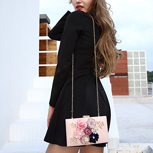 Milisente Women Flower Clutches Evening Bags Handbags Wedding Clutch Purse (Light Pink) by Milisente (Image #7)
