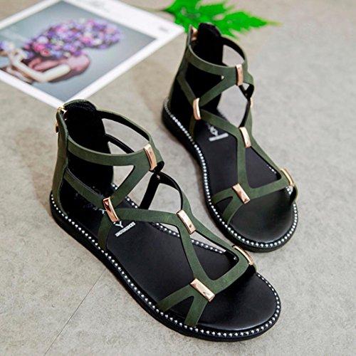 HLHN Women Sandals,Roman Gladiator Cross Strap Ankle Flat Heel Open-Toe Shoes Casual Vintage Lady Green