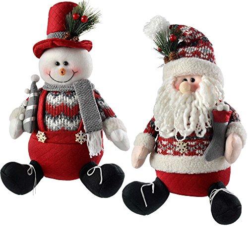 WeRChristmas Sitting Santa Snowman Christmas Decorations, 30 Cm - Red/Grey, Set Of 2 (Prelit)