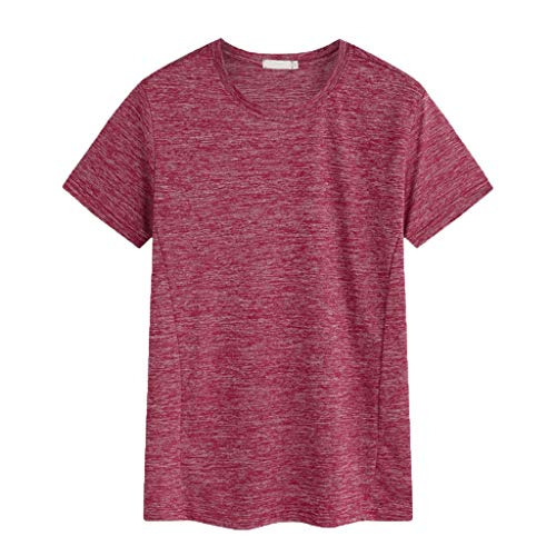 (JJLIKER Men's Big & Tall Short Sleeve Crewneck Casual T-Shirt Outdoor Quick-Drying Sports Stretch Tops Red)
