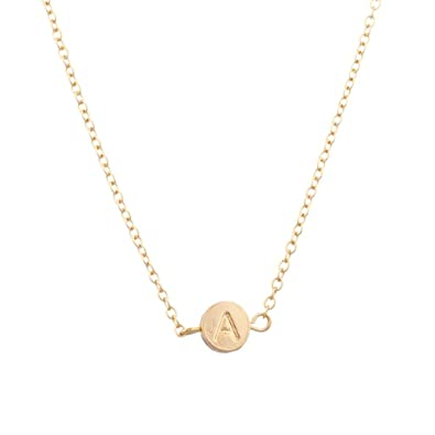 3bbbaa684d15 Lux Accessories Collar con colgante inicial  colgante redondo ...