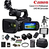 Canon XA50 Professional UHD 4K Camcorder (3669C002) W/Extra Battery, Soft Padded Bag, 64GB Memory Card, LED Light, UV Filter, Tripod and More Starter Bundle