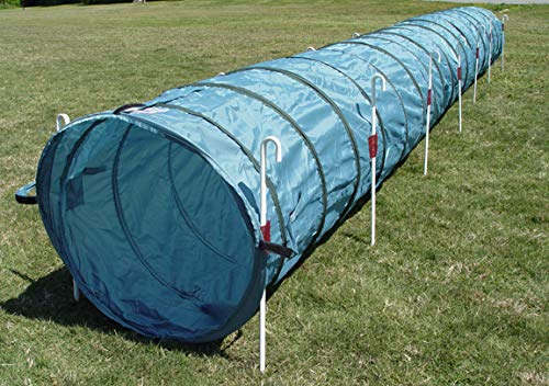 18' Dog Agility Tunnel with Stakes, Multiple Colors Available (Teal)