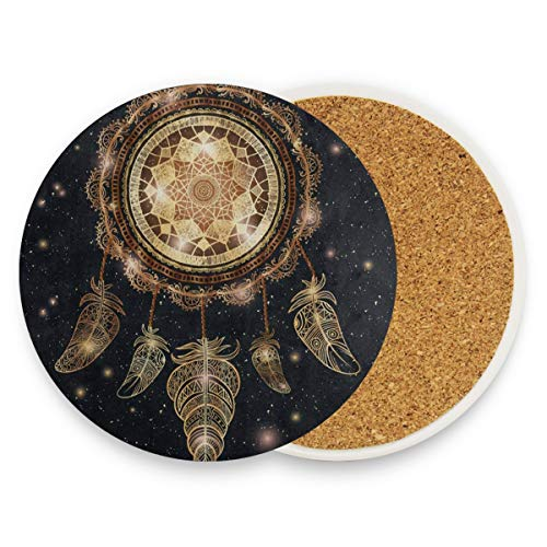SLHFPX American Indian Dreamcatcher Feather Starry Night Coasters,Protection for Granite,Glass,Soapstone,Sandstone,Marble,Stone Table - Perfect Cork Coasters,Round Cup Mat Pad for Home,Kitchen,Bar