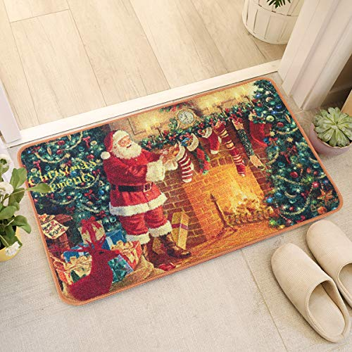 YJ.GWL Merry Christmas Rugs Welcome Mat for Indoors Outdoor Non Slip Doormat Entrance Rug for Bedroom Xmas Home Decor 2 x 3 Santa Claus