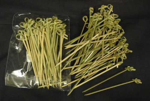 Happy Sales HSCMS-1, Bamboo Skewers 4 Inch Twisted ends 50 PCS