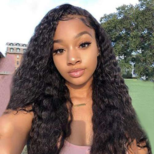 AISI HAIR Black Long Curly Lace Front Wigs with Baby Hair Long Kinkys Curly Wig Synthetic Lace Front Wigs Curly Long Wigs for Women(26inch,1B#) ()
